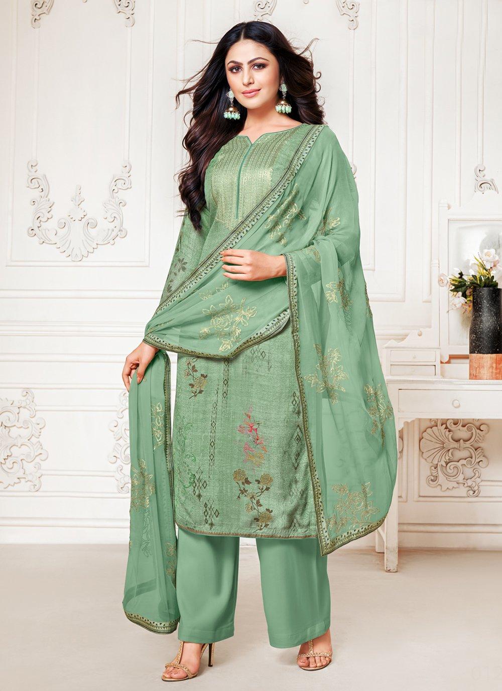 Fancy Sea Green Designer Palazzo Salwar Suit