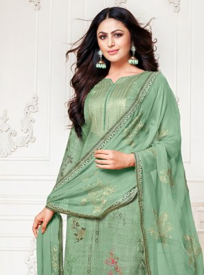 Fancy Sea Green Designer Palazzo Salwar Suit