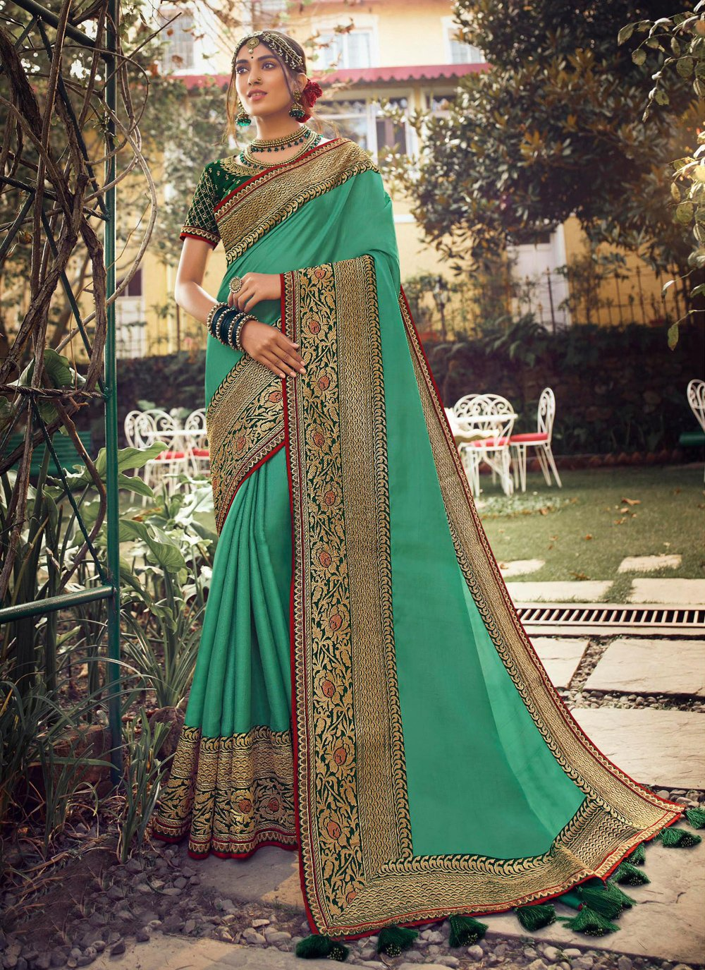 Fancy Sea Green Designer Traditional Saree