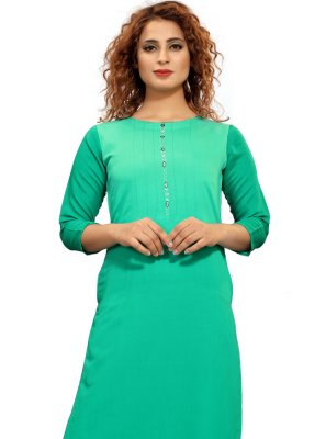 Fancy Sea Green Fancy Fabric Party Wear Kurti