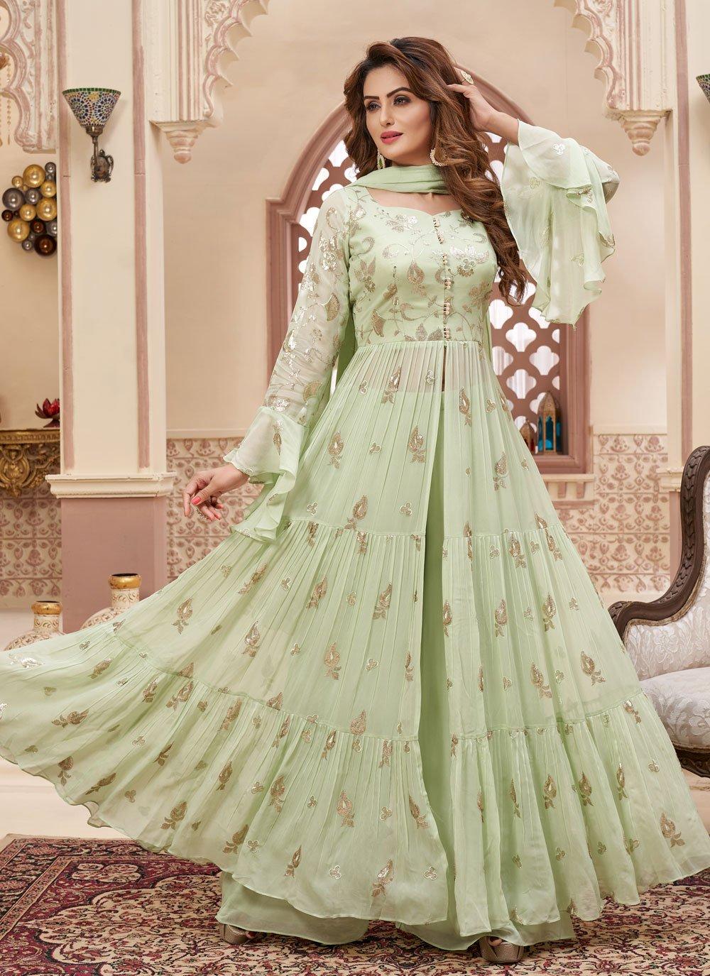 Fancy Sea Green Georgette Readymade Suit