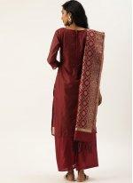 Fancy Silk Designer Pakistani Suit in Maroon