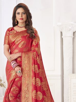 Fancy Silk Designer Traditional Saree in Pink