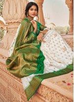 Fancy Silk Green and Off White Classic Designer Saree