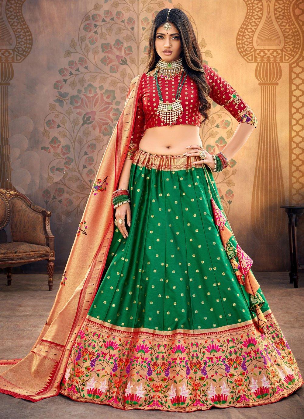 Fancy Silk Lehenga Choli in Green