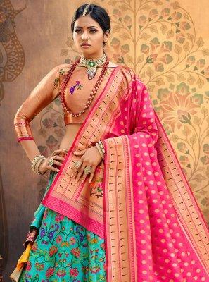 Fancy Silk Lehenga Choli in Rama