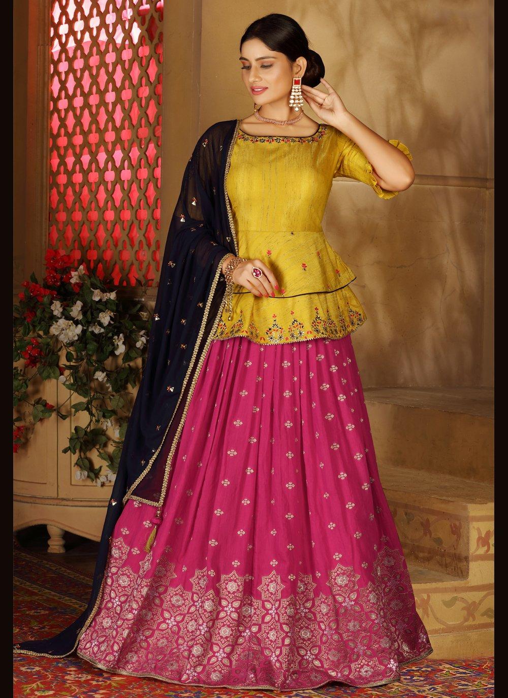 Fancy Silk Readymade Lehenga Choli in Hot Pink and Yellow