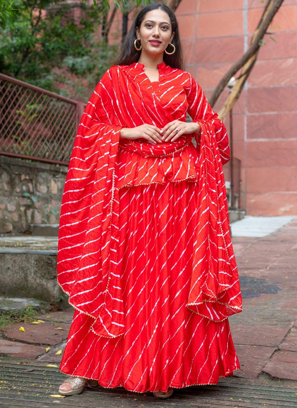 Fancy Silk Readymade Suit in Red