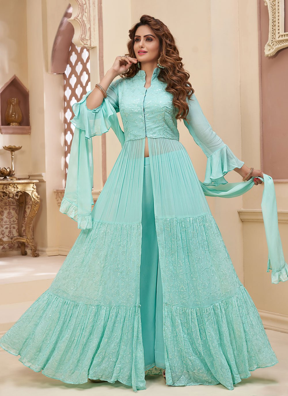 Fancy Turquoise Readymade Suit