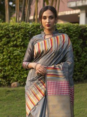 Fancy Tussar Silk Grey Designer Traditional Saree