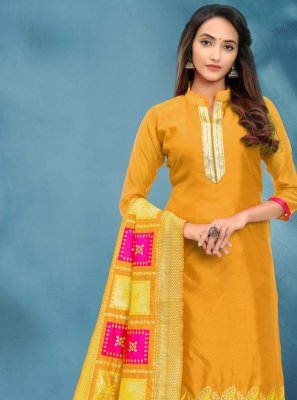 Fancy Yellow Banarasi Silk Churidar Salwar Suit