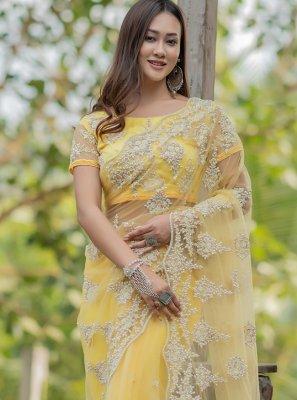 Fancy Yellow Net Designer Traditional Saree