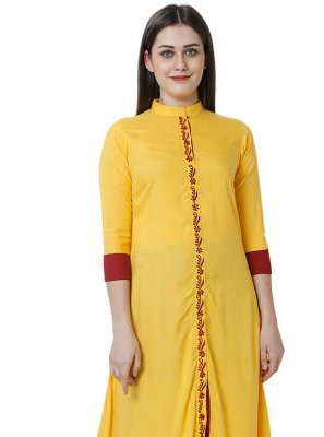 Fancy Yellow Rayon Party Wear Kurti