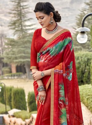 Faux Chiffon Abstract Print Classic Saree in Red