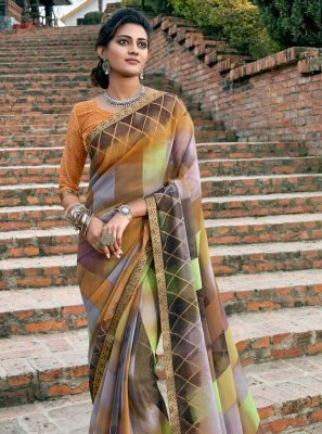 Faux Chiffon Abstract Print Designer Saree in Multi Colour