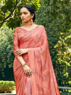Faux Chiffon Abstract Print Peach Printed Saree