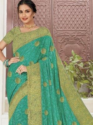 Faux Chiffon Aqua Blue Trendy Saree