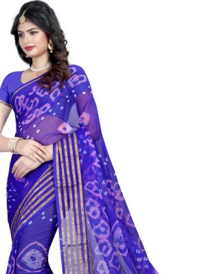 Faux Chiffon Blue Abstract Print Printed Saree