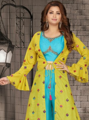 Faux Chiffon Blue and Yellow Fancy Readymade Suit