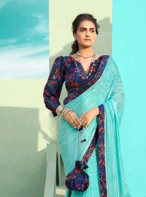 Faux Chiffon Blue Classic Designer Saree