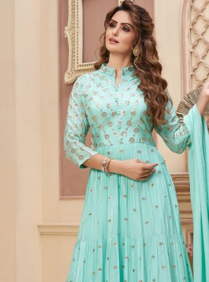 Faux Chiffon Blue Fancy Readymade Anarkali Suit