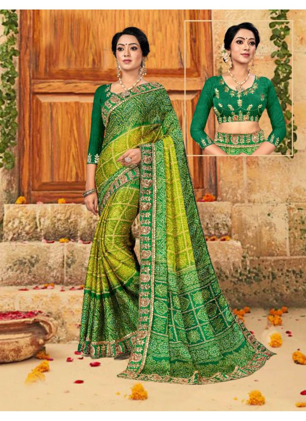 Faux Chiffon Ceremonial Trendy Saree