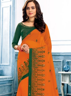 Faux Chiffon Classic Designer Saree in Orange