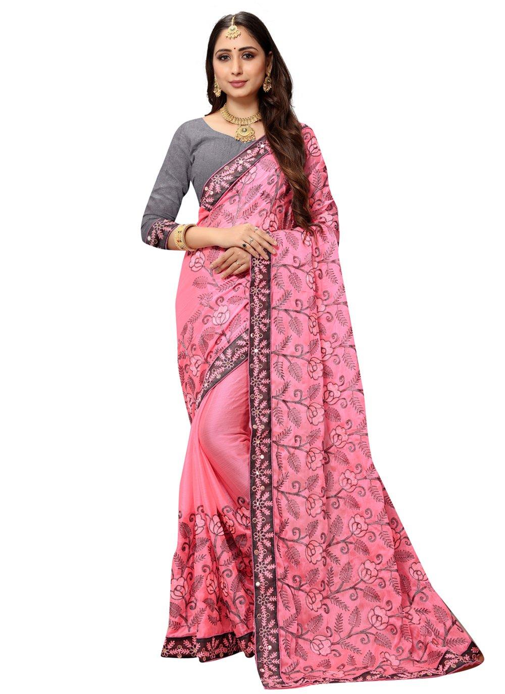 Faux Chiffon Classic Designer Saree in Pink