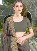 Faux Chiffon Classic Saree in Grey