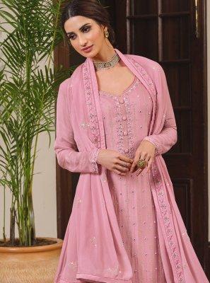 Faux Chiffon Designer Palazzo Salwar Kameez in Pink