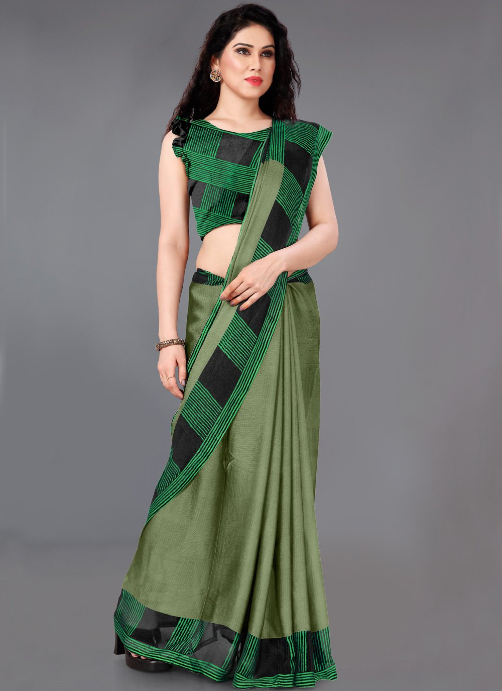 Faux Chiffon Designer Saree in Green