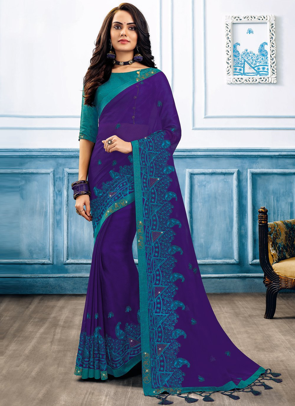 Faux Chiffon Embroidered Blue Classic Saree