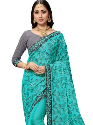 Faux Chiffon Embroidered Classic Saree in Blue