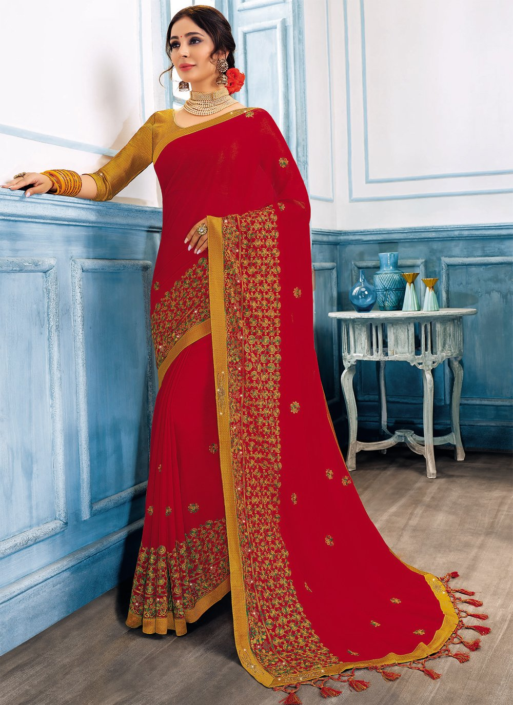 Faux Chiffon Embroidered Classic Saree in Red