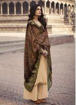 Faux Chiffon Embroidered Cream Designer Palazzo Suit