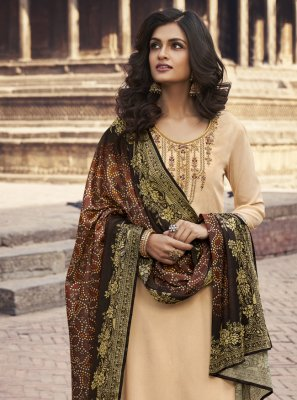 Faux Chiffon Embroidered Cream Designer Palazzo Suit