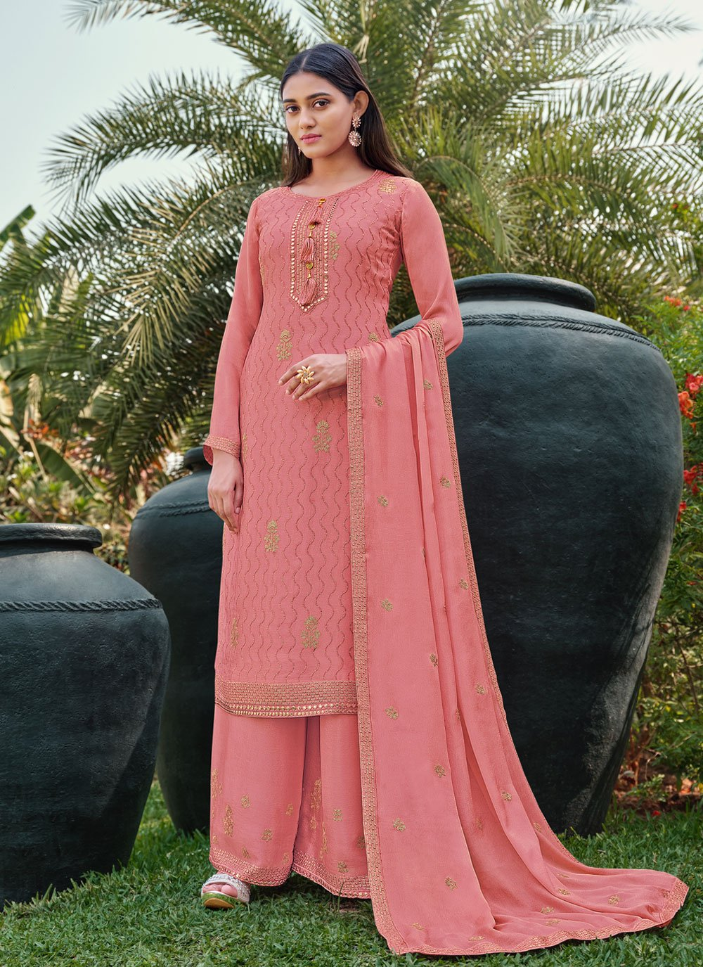Faux Chiffon Embroidered Designer Palazzo Salwar Suit