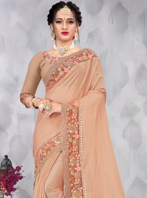 Faux Chiffon Embroidered Designer Saree