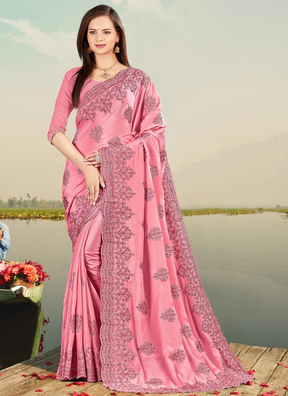 Faux Chiffon Embroidered Designer Saree
