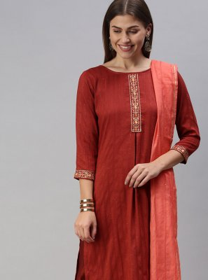 Faux Chiffon Embroidered Maroon Pant Style Suit