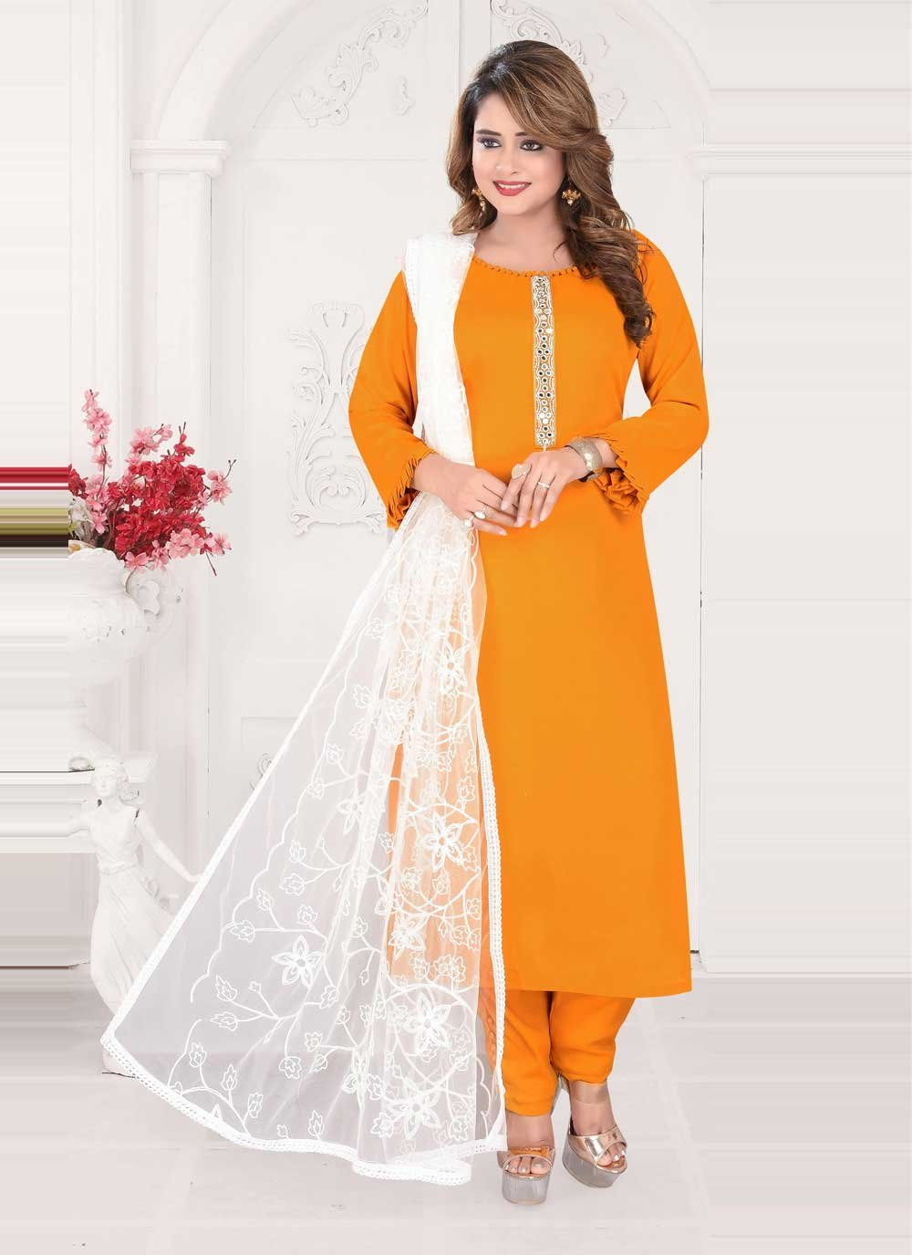 Faux Chiffon Embroidered Mustard Readymade Suit
