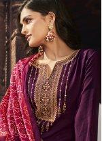 Faux Chiffon Embroidered Purple Designer Palazzo Suit