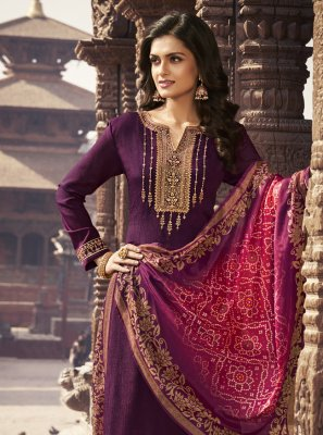 Faux Chiffon Embroidered Purple Designer Palazzo Suit