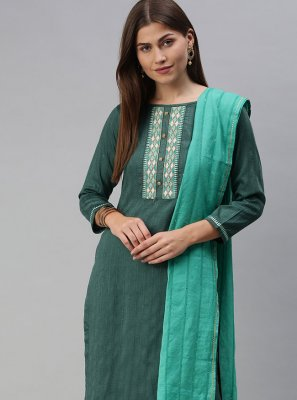 Faux Chiffon Embroidered Sea Green Pant Style Suit