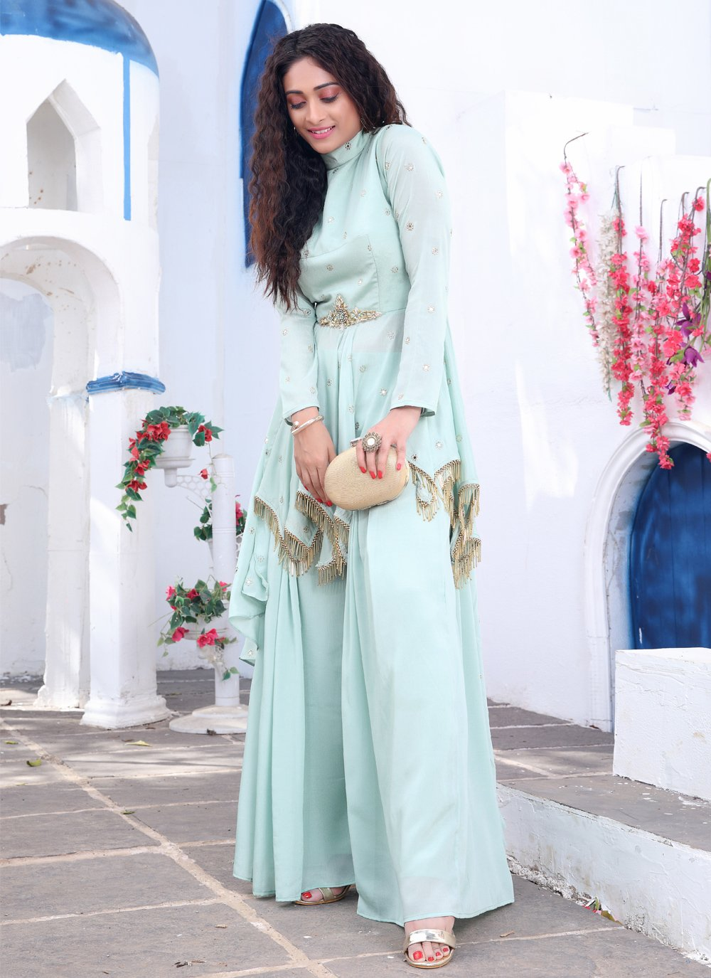 Faux Chiffon Engagement Readymade Suit