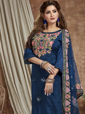 Faux Chiffon Fancy Blue Readymade Suit