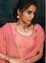 Faux Chiffon Fancy Designer Traditional Saree in Pink