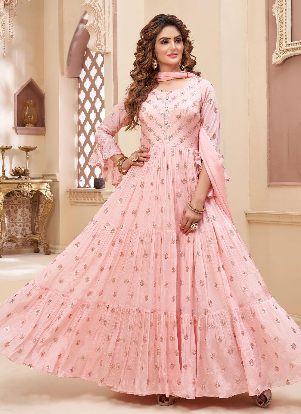 Faux Chiffon Fancy Readymade Anarkali Suit in Pink