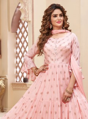 Faux Chiffon Fancy Readymade Anarkali Suit in Pink