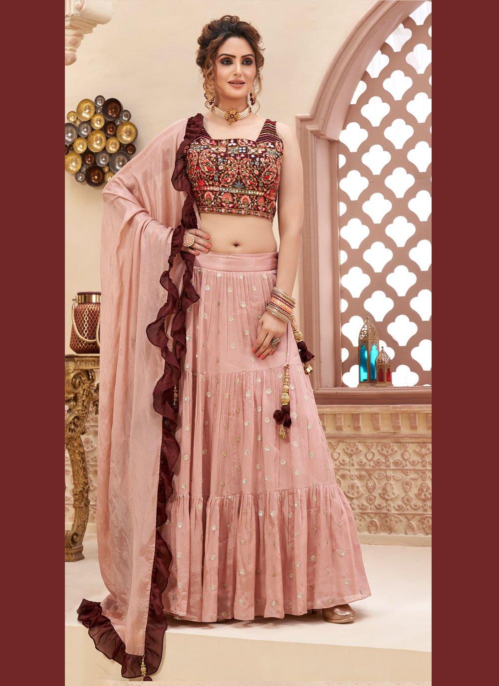 Faux Chiffon Fancy Readymade Lehenga Choli in Pink